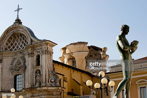 View of the dome of the damaged Cathedral in the center of L'Aquila on April 6, 2009 following an earthquake measuring 5.8-magnitude on the...