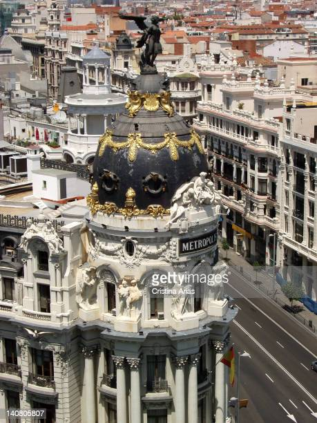 View of the dome of the Metropolis building from the roof of the Circulo de Bellas Artes in Madrid the building located at the confluence of the...