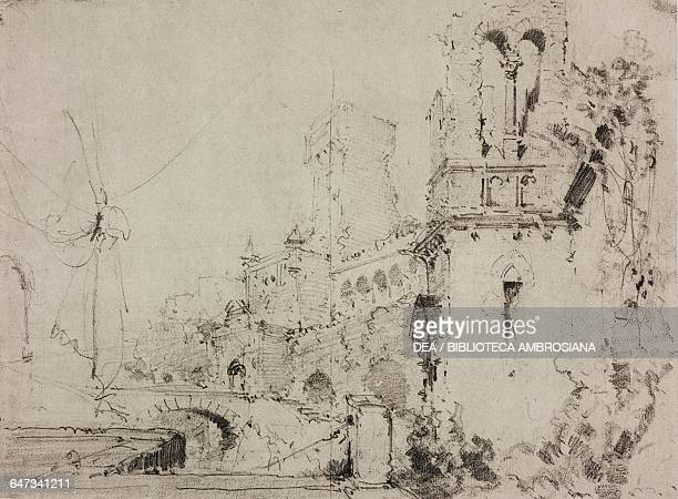 View of the Domus Aurea sketch for Act VI of the ballet Nerone by Costantino Dall'Argine Season 1877 from 500 stage design sketches in five volumes...