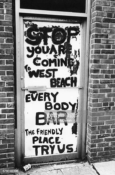 View of the door to the West Beach Bar Grill New York New York January 17 1975