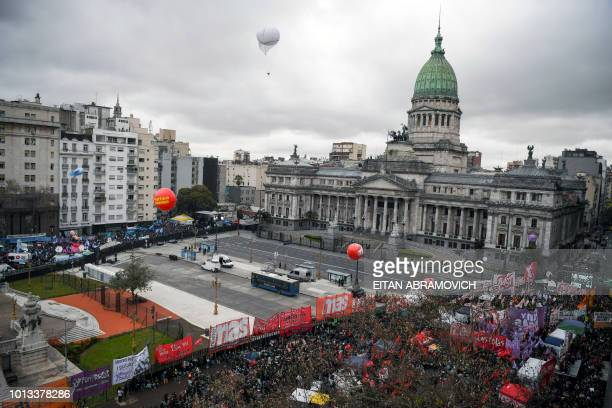View of the Dos Congresos square in Buenos Aires on August 8 2018 where activists in favour and against the approval of a bill to legalize abortion...