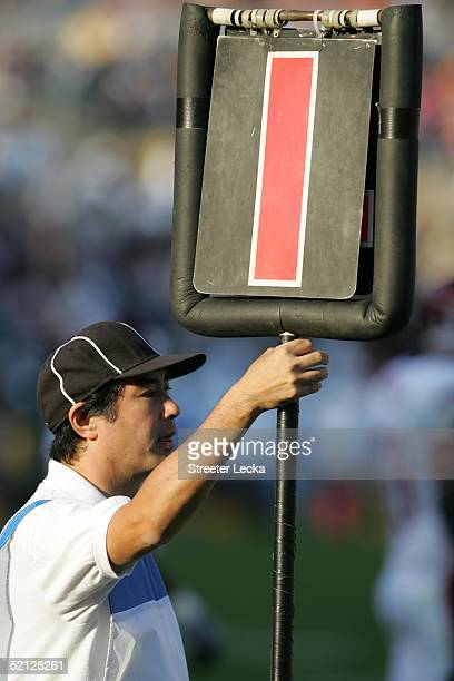 A view of the down marker during the game between the UCLA Bruins and the Washington State Cougars at the Rose Bowl on November 6 2004 in Pasadena...