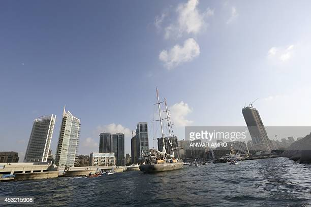 A view of the down town Beirut skyline as the Tara schooner sails into Beirut's Marina on August 5 as part of its Mediterranean expedition docking at...