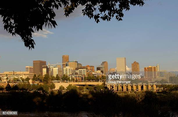 A view of the downtown city skyline on August 12 2008 in Denver Colorado The city is preparing to host the 2008 Democratic National Convention at the...