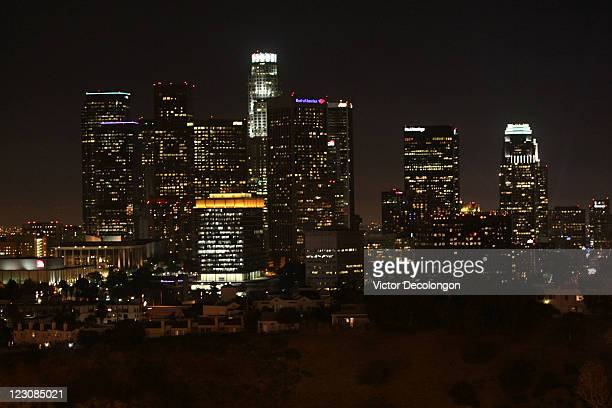 A view of the downtown Los Angeles skyline after the MLB game between the San Diego Padres and the Los Angeles Dodgers at Dodger Stadium on August 29...