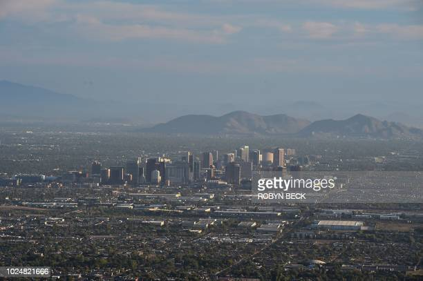 View of the downtown Phoenix, Arizona city skyline as seen from South Mountain Park, August 28, 2018.