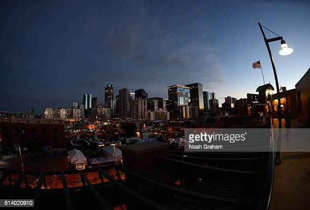 A view of the downtown skyline of Denver is seen before the start of the 2016 Coors Light Stadium Series game between the Detroit Red Wings and the...