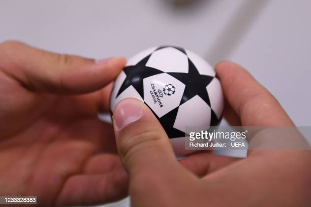 View of the draw ball ahead of the UEFA Champions League 2021/22 Preliminary Round draw at the UEFA headquarters, The House of European Football on...