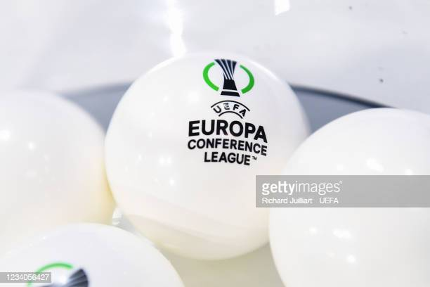 View of the draw balls ahead of the UEFA Europa Conference League 2021/22 Third Qualifying Round draw at the UEFA headquarters, The House of European...