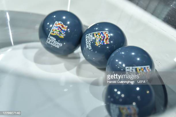 View of the draw balls ahead of the UEFA Nations League 2020/21 Finals draw at the UEFA Headquarters, the House of European Football, on December 3...