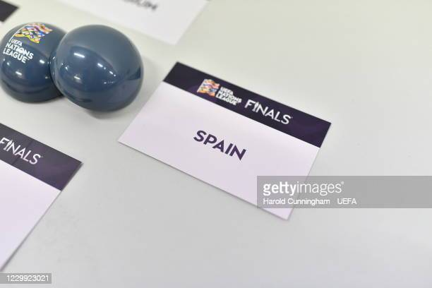View of the draw cards ahead of the UEFA Nations League 2020/21 Finals draw at the UEFA Headquarters, the House of European Football, on December 3...