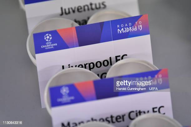 A view of the draw cards prior to the UEFA Champions League 2018/19 Quarterfinal Semifinal and Final draws at the UEFA headquarters The House of...