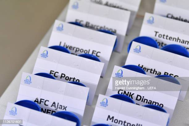 A view of the draw cards prior to the UEFA Youth League 2018/19 Knockout draw at the UEFA headquarters The House of European Football on February 22...