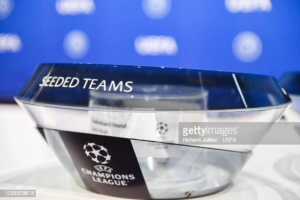 View of the draw pot during the UEFA Champions League 2021/22 Preliminary Round draw at the UEFA headquarters, The House of European Football on June...