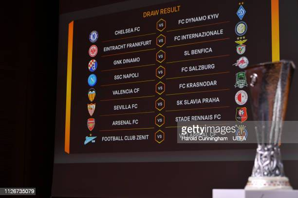 A view of the draw results as shown on the big screen following the UEFA Europa League 2018/19 Round of 16 draw at the UEFA headquarters The House of...