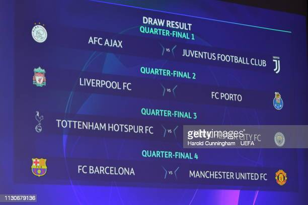 A view of the draw results as shown on the big screen following the UEFA Champions League 2018/19 Quarterfinal Semifinal and Final draws at the UEFA...