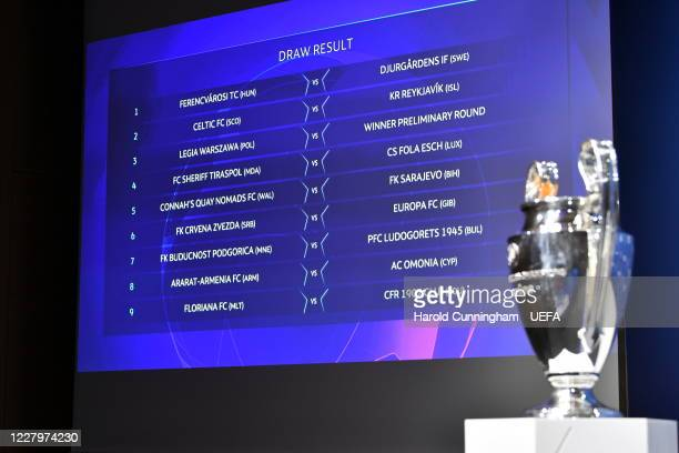 A view of the draw results as shown on the big screen following the UEFA Champions League 2020/21 First Qualifying Round draw at the UEFA...