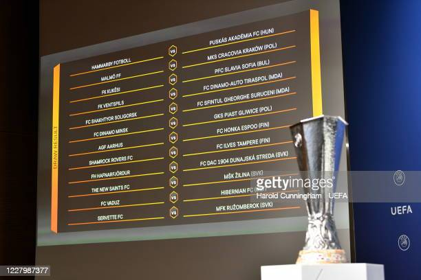 View of the draw results as shown on the big screen following the UEFA Europa League 2020/21 First Qualifying Round draw at the UEFA headquarters,...