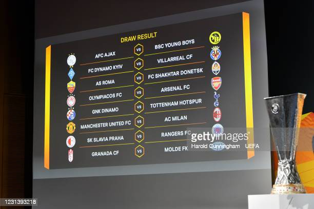 View of the draw results as shown on the big screen following the UEFA Europa League 2020/21 Round of 16 draw at the UEFA Headquarters, the House of...