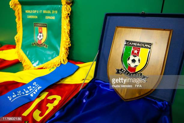 View of the dressing room of Cameroon team prior to the FIFA U-17 Men's World Cup Brazil 2019 group E match between Cameroon and Spain at Valmir...