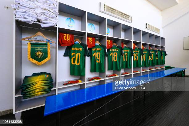View of the dressing room of Cameroon team prior to the FIFA U17 Women's World Cup Uruguay 2018 group C match between USA and Cameroon at Estadio...