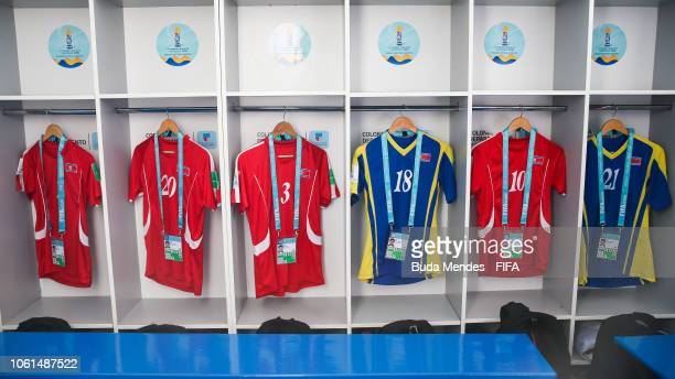 View of the dressing room of Korea DPR team prior to the FIFA U17 Women's World Cup Uruguay 2018 group C match between Korea DPR and Germany at...