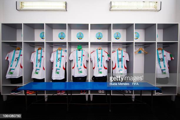 View of the dressing room of Korea DPR team prior to the FIFA U17 Women's World Cup Uruguay 2018 group C match between Cameroon and Korea DPR at...