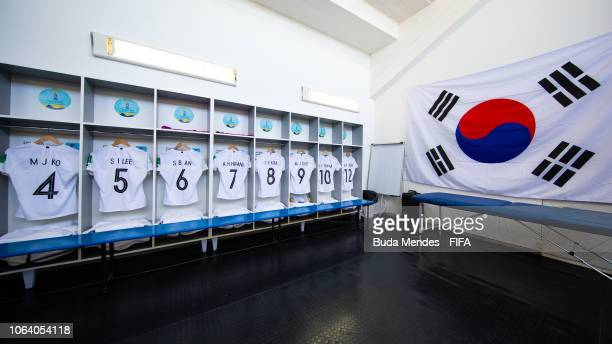 View of the dressing room of Korea Republic team prior to the FIFA U17 Women's World Cup Uruguay 2018 group D match between Colombia and Korea...