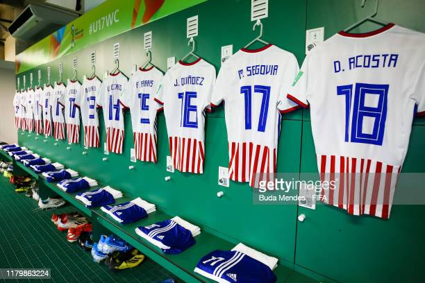 View of the dressing room of Paraguay team prior to the FIFA U17 Men's World Cup Brazil 2019 group F match between Italy and Paraguay at Valmir...