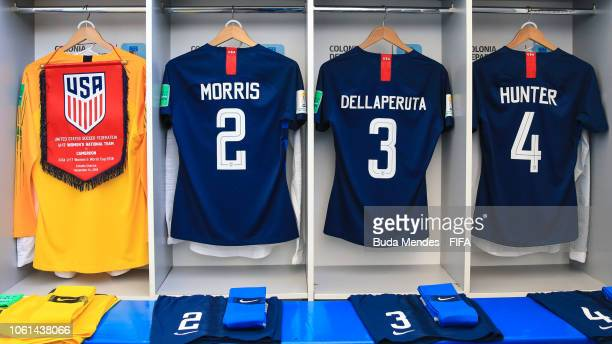 View of the dressing room of the United States team prior to the FIFA U17 Women's World Cup Uruguay 2018 group C match between USA and Cameroon at...