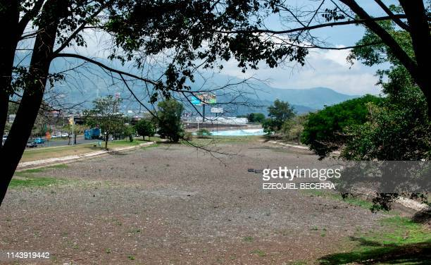 View of the dried lake of the Peace Park in San Jose on May 14 2019 The lake was affected by droughts produced by El Nino phenomenon The Peace Park...