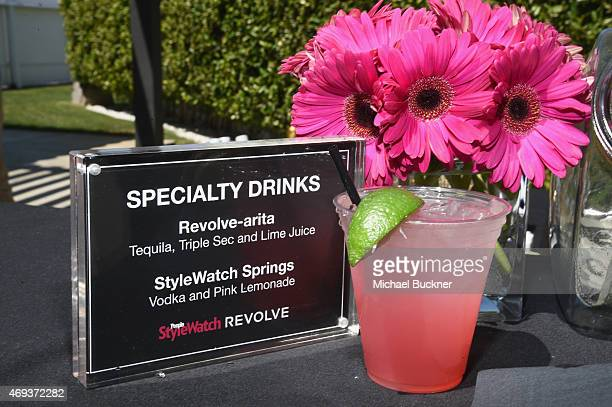 A view of the drink menu during the People StyleWatch REVOLVE Fashion and Festival Event at Avalon Palm Springs on April 11 2015 in Palm Springs...