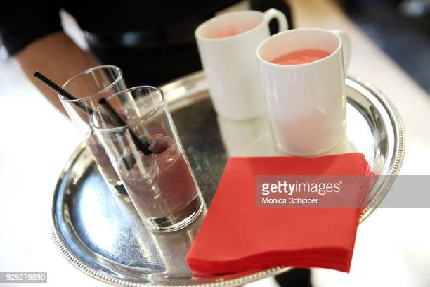 A view of the drinks being served at the Bloomingdale's launch of an exclusive collection with Nintendo on March 8 2018 in New York City