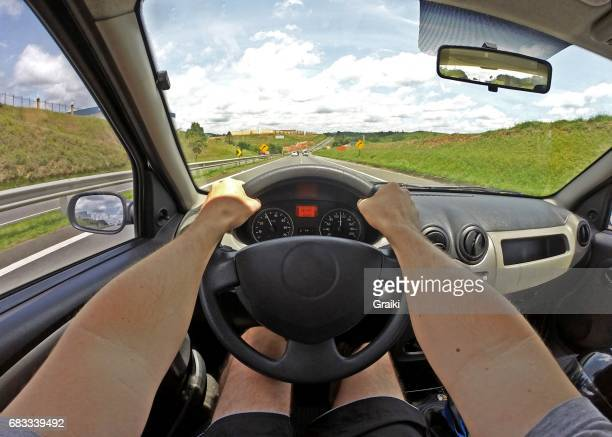View of the driver on a highway.