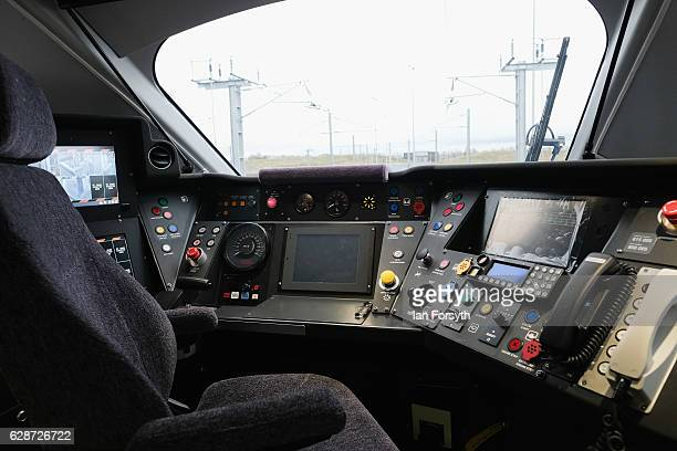 View of the driver's cab as the first British-built Intercity Express train is unveiled in front of invited guests at the Hitachi Rail Europe site on...