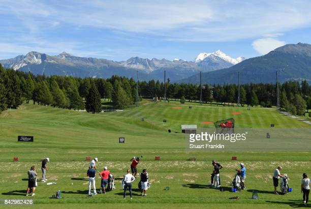 A view of the driving range during practice prior to the start of the Omega European Masters at CranssurSierre Golf Club on September 5 2017 in...