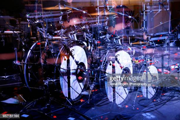 A view of the drumset during the Wye Oak performance at Twix during SXSW at Lustre Pearl on March 14 2018 in Austin Texas