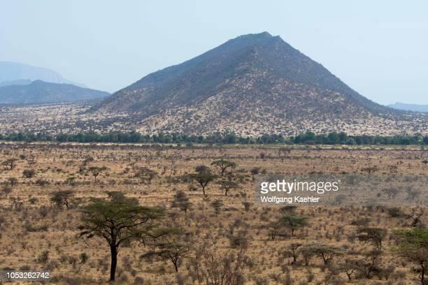 View of the dry savannah landscape in the Samburu National Reserve in Kenya