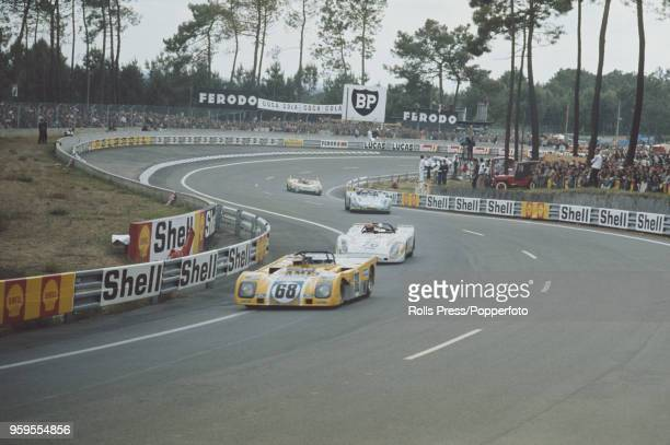 View of the Duckham's Oil Motor Racing Duckhams LM Brabham racing car driven by Alain de Cadenet and Chris Craft of Great Britain competing to finish...