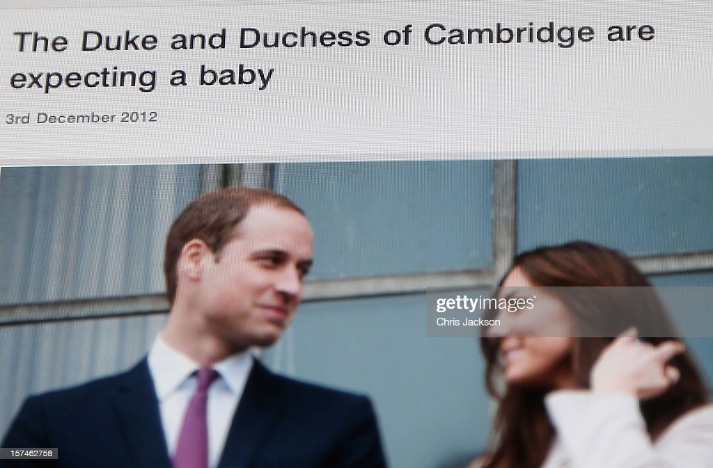A view of the Duke and Duchess of Cambridge's Official website as the couple announce the pregnancy of the Duchess of Cambridge on December 3, 2012 in London, England.