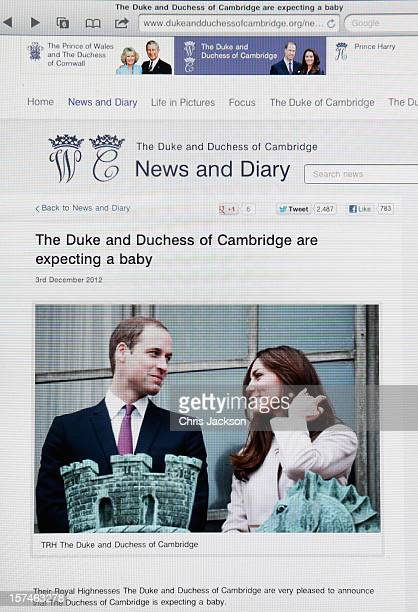 A view of the Duke and Duchess of Cambridge's Official website as the couple announce the pregnancy of the Duchess of Cambridge on December 3 2012 in...