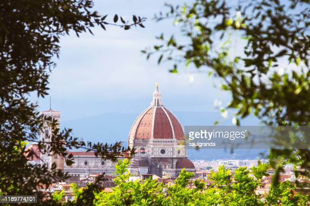 view of the duomo of florence through tree blanches - duomo santa maria del fiore stock pictures, royalty-free photos & images