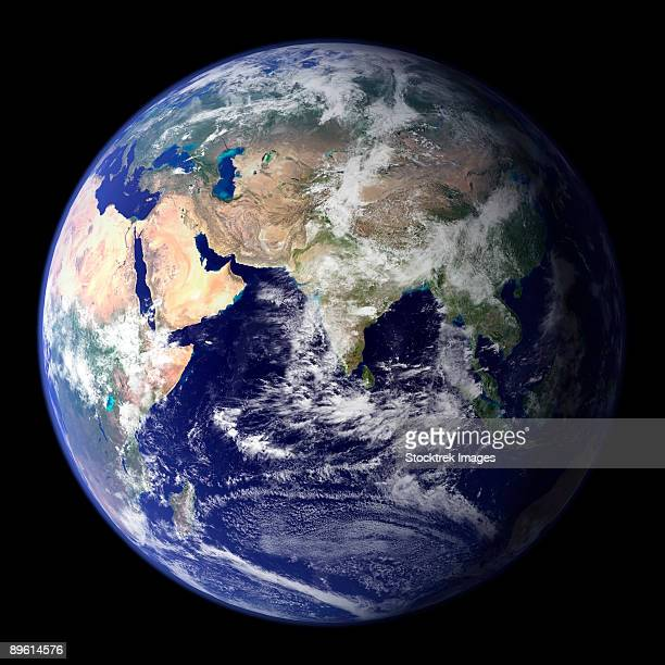 view of the earth from space showing the eastern hemisphere. - komplett stock-fotos und bilder