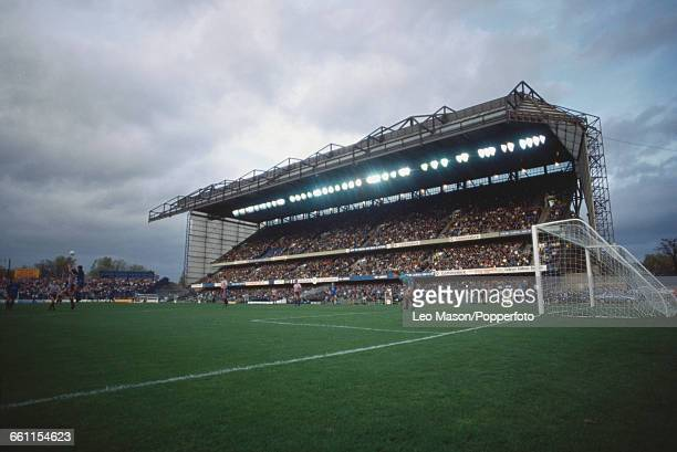 View of the East Stand of Chelsea's Stamford Bridge ground built in 1973 packed with fans during a Chelsea Football Club home game in London in 1989...
