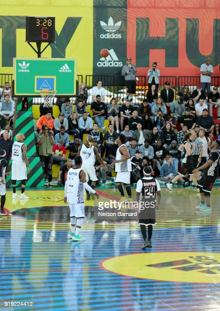 A view of the East Vs West game at adidas Creates 747 Warehouse St an event in basketball culture on February 16 2018 in Los Angeles California