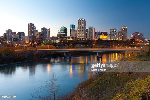 View of the Edmonton Skyline reflected in the North Saskatchewan River, Edmonton, Alberta, Canada