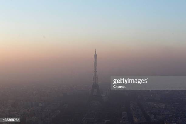 View of the Eiffel Tower and the city surrounded by high levels of air pollution on November 02, 2015 in Paris, France. The COP21 climate conference...
