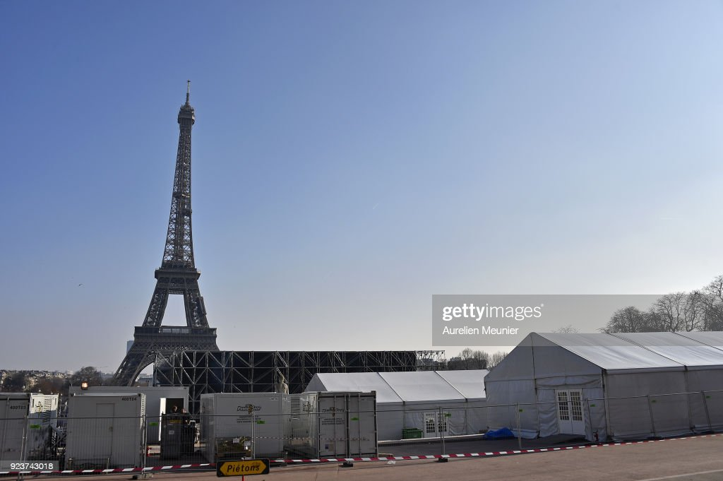 A General View As Construction Of The YSL Venue At The Eiffel Tower Prior To Paris Fashion Week