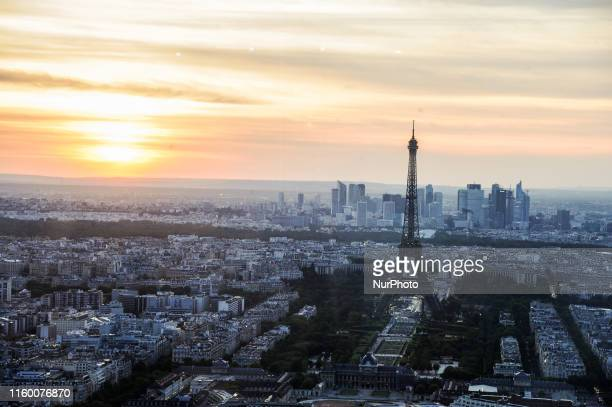 View of the Eiffel Tower from the top of Montparnasse Tower on sunset in Paris France on August 06 2019