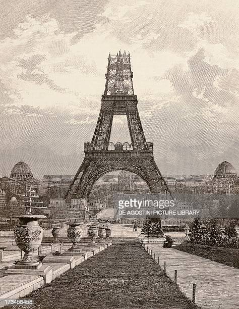 View of the Eiffel Tower under construction Paris 1889 France 19th century